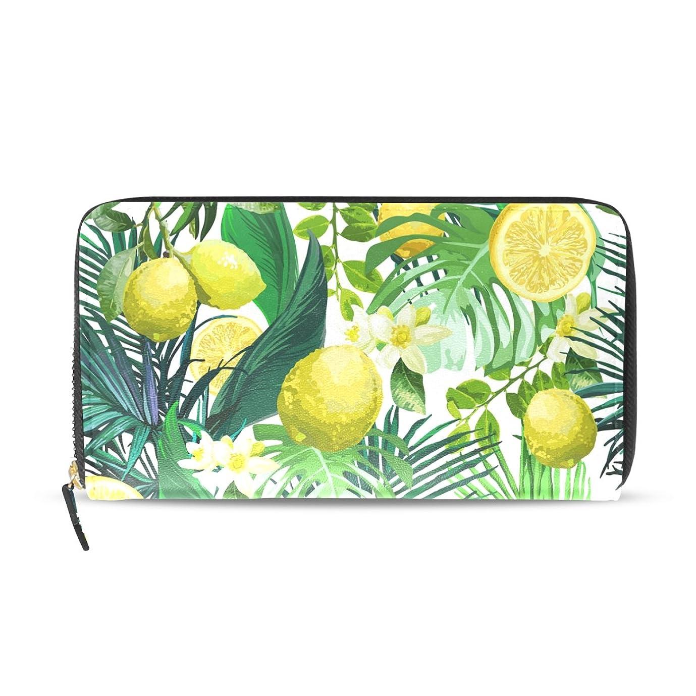 冷蔵庫愛人周波数AOMOKI 財布 レディース 長財布 レモン 黄色 花柄 ラウンドファスナー PUレザー 大容量 二つ折り 幅20*丈11cm