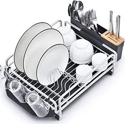 Kingrack Dish Rack, Aluminum Dish Drainer,Dish Drying Rack with Removable Drip Tray, Large Storage Draining Board, Cutlery Holder & Cup Holder, Plate Rack Drainer for Kitchen Black