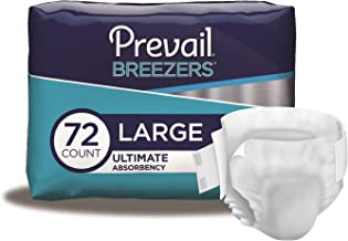 Prevail Breezers Ultimate Absorbency Incontinence Briefs, Large, 18 Count (Pack of 4)