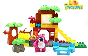 Little Treasures Friendly Bear Building Brick 59 Piece Play Set That Lets You Build Your Own Jungle Home – Compatible & Tight Fit