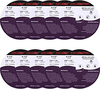 """CHAOWISH Cutting Wheel 4.5"""" Stainless Steel Durable Cutoff Discs 7/8"""" Arbor 3/64"""" Thick Fit Angle Grinder Well 10 Pack (4 1/2"""")"""