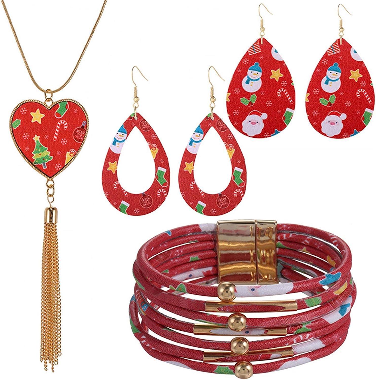 4 Pcs/Set Christmas Plaid Print Jewelry Set Christmas Plaid Multi-Layer Bracelet Faux Leather Dangle Earrings Long Tassel Heart Shape Leather Necklace Xmas Decations Jewelry Set