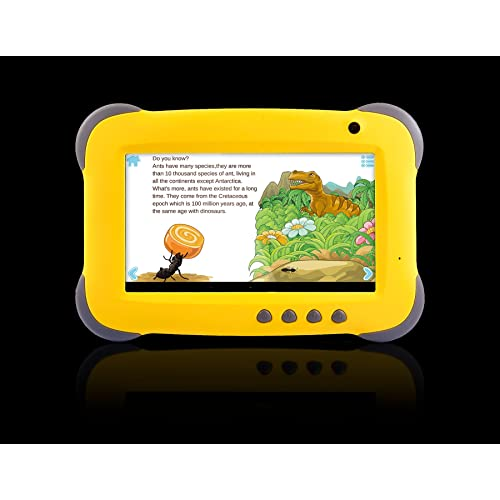 """Fusion5 7"""" Ergonomic Designed* Kids Yellow Tablet PC - Quad Core, WiFi, Games, 1GB RAM, 8GB Storage, IPS Screen, Kids Apps, Dual Camera, Parental Controls and many more - Tablets for Kids with Wifi"""