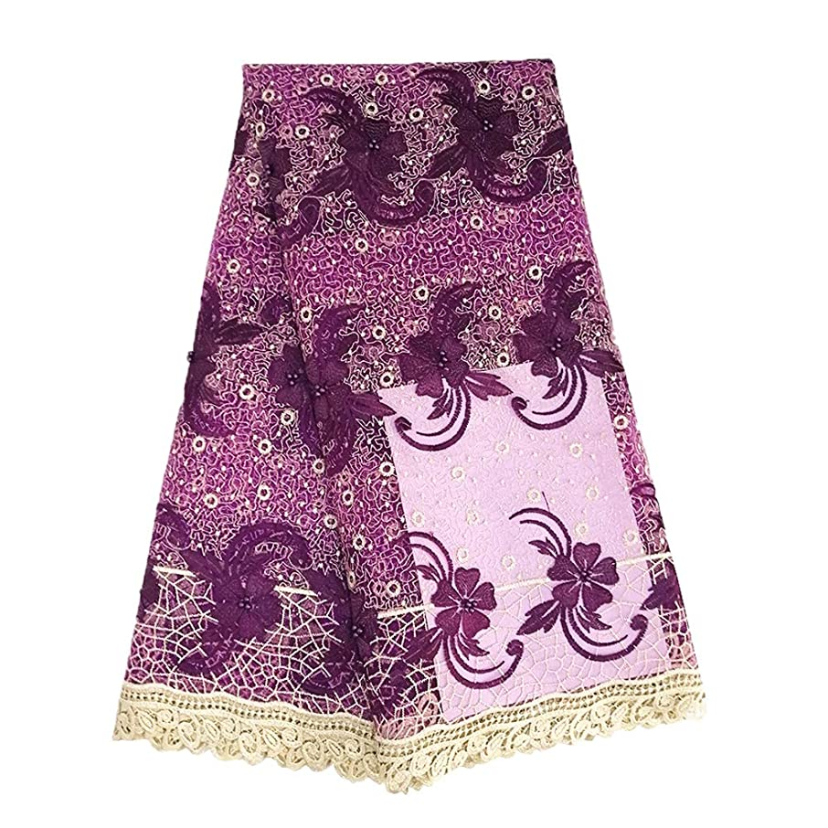 pqdaysun African Lace Fabric Nigerian French Lace Gurpure Lace Net Fabric Embroidered Fabric for Wedding Party F50763 (Purple, 5 Yards)