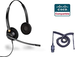 Cisco Certified Plantronics EncorePro 520 Headset Bundle for Cisco 69xx, 78xx, 79xx, 89xx, 99xx Series