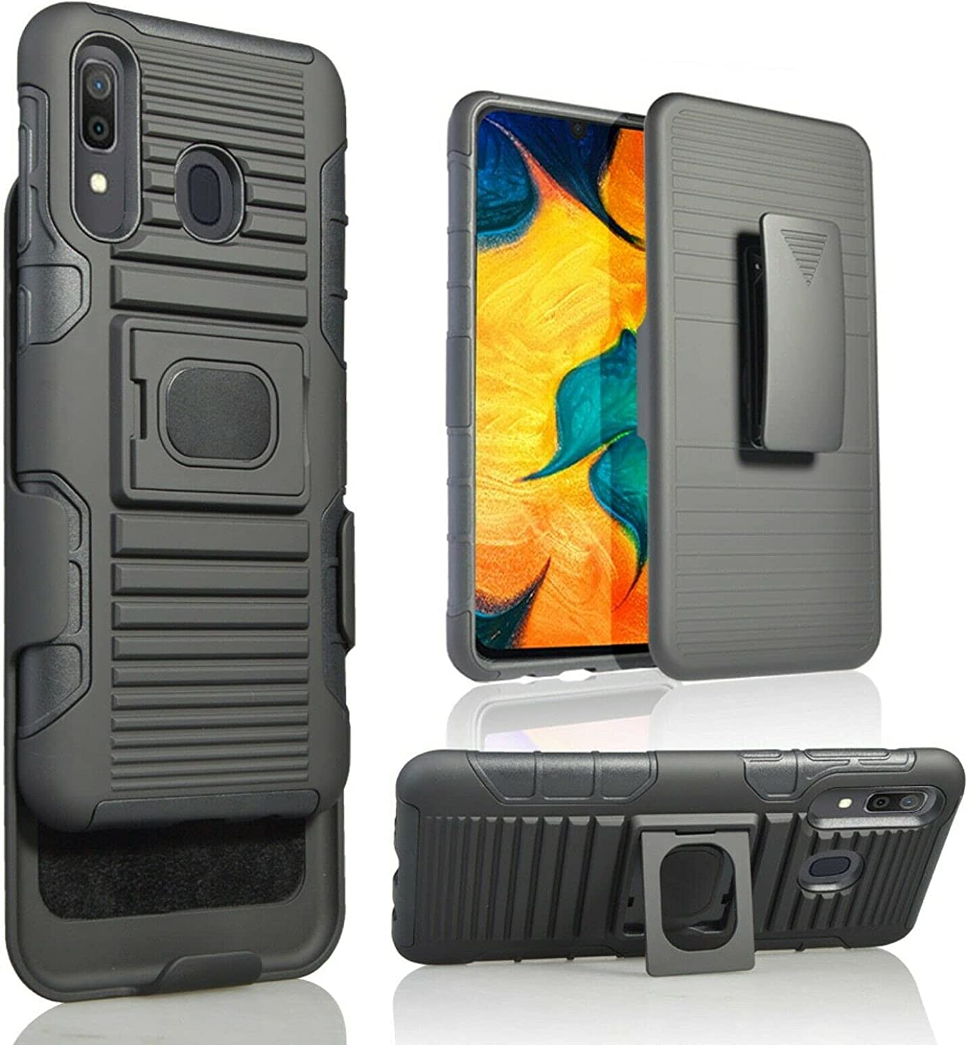 for Samsung A50 [5 Functions in 1] Temper Glass Case Heavy Duty Shock Absorption Magnetic Ring Kickstand Armor Case with Belt Swivel Clip Holster Cover (Black)