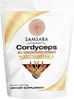 Samsara Herbs Cordyceps Mushroom Extract Powder (4oz/114g)