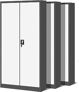 Jan Nowak by Domator24 Set de 3 Bureau XL C001H Armoire métallique 4 étagères tôle d'acier Portes battantes verrouillable ...