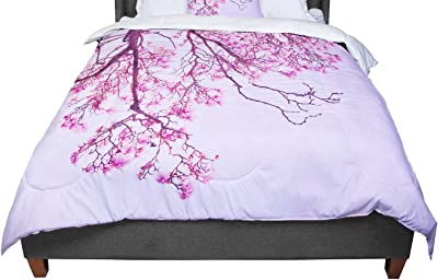 80 by 60 Kess InHouse Iris Lehnhardt Magnolia Trees Pink Branches Fleece Throw Blanket