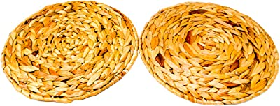Trademark Innovations Wicker Round Woven Hyacinth Placemats (Set of 2)