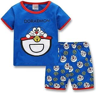 Lovely Summer Cotton Doraemon Children Clothing, Short Sleeve Tops+Shorts Kids Pajamas Set Sleepwear for 2-7 Years Boy Girls