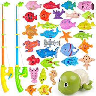 AUUGUU Magnetic Fishing Game Water Toy – 2 Fishing Poles with Working Reels, 1 Wind Up Swimming Turtle and 30 Colorful Mag...