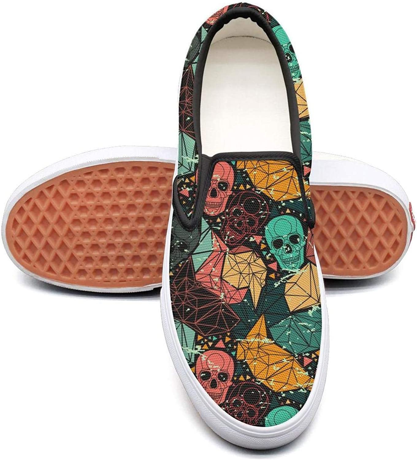 colorful Mexican Skull Party Slip On Canvas Upper Sneakers Canvas shoes for Women Fashion