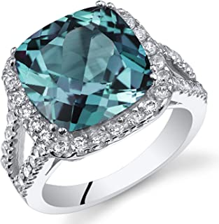 7.75 Carats Cushion Cut Simulated Alexandrite Ring Sterling Silver Sizes 5 to 9