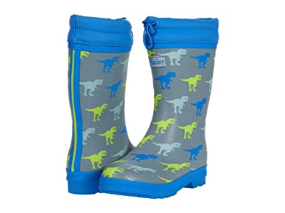 Hatley Kids T-Rex Sherpa Lined Rain Boots (Toddler/Little Kid) (Grey) Boy