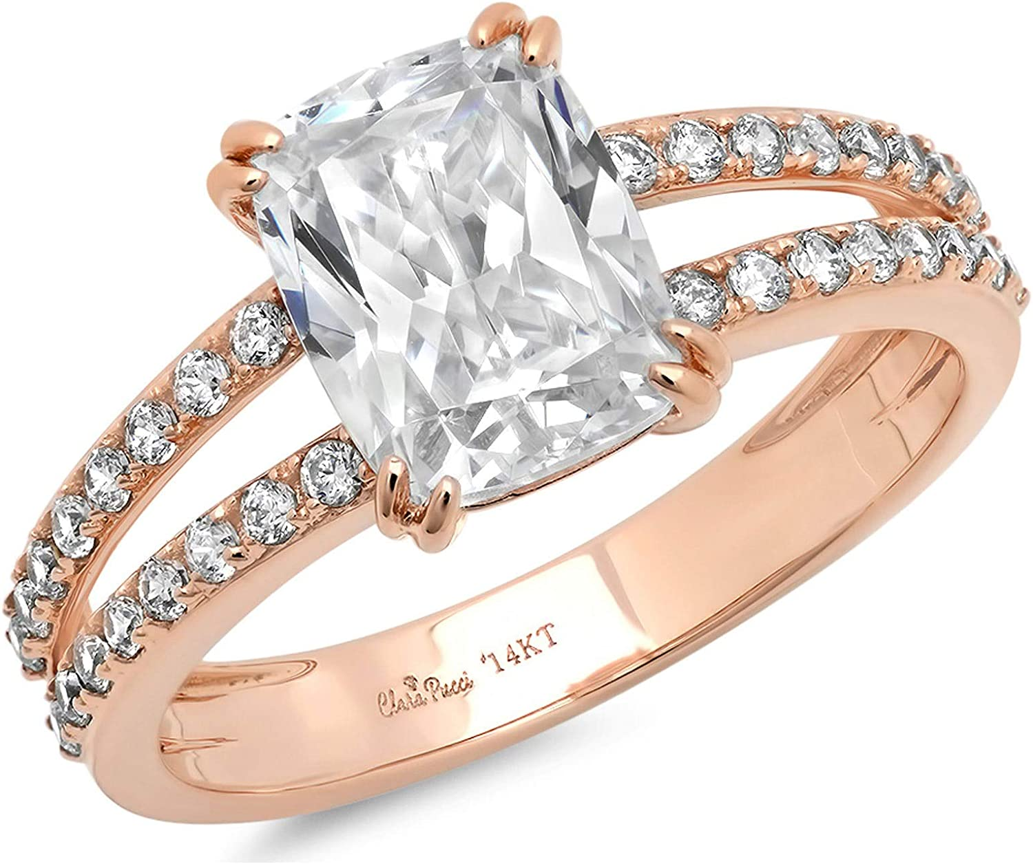 3.47ct Brilliant Cushion Cut Solitaire with accent Stunning Genuine White lab created Sapphire Ideal VVS1 D & Simulated Diamond Designer Modern Statement Accent Ring Solid 14k Rose Gold Clara Pucci