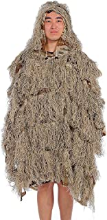 jkbfyt Camouflage Jungle Ghillie Suit, Camouflage Cloak Jungle Hunting Ghillie Suit Desert Woodland Sniper Birdwatching Poncho