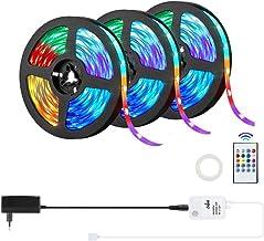 15m LED Stripverlichting OxyLED Music Sync Kleurveranderende Lichtstrip met 20 Toetsen IR Afstandsbediening,5050 RGB 450 L...