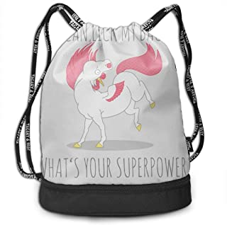 Address Verb Drawstring Backpack with Pocket Multifunctional Sturdy I Can Lick My Back Sackpack Sports
