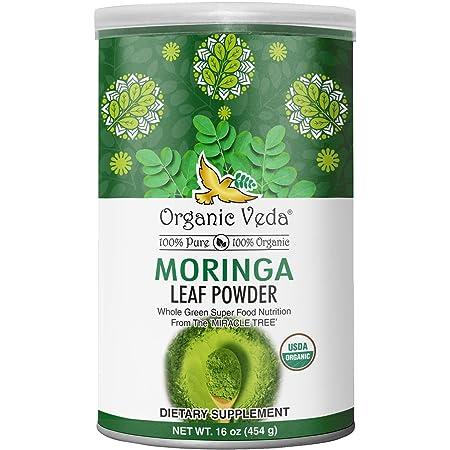 Organic Veda Moringa Powder 1 LB (16 oz) USDA Organic Certified   100% Pure Raw Organic Moringa Leaf, Grown from India Original Premium Potent Variety Moringa Oleifera, Non GMO   Whole Green Super Food Nutrition
