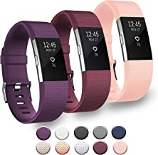 3 Pack Bands Compatible with Fitbit Charge 2 Bands Small Large Soft Sport Replacement Accessories Wristbands for Women Men (Large, Wine Red/Purple/Pink)