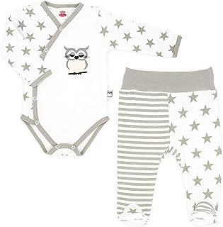 Makoma Baby Bekleidungs Set Erstausstattung Wickeljacke J/äckchen Strampler Hose mit Fu/ß Teddy