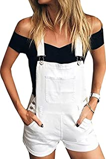Womens Distressed Ripped Denim Overall Shorts