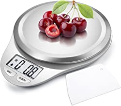 CAMRY Kitchen Scales Digital Multifunction Food Scale with LCD Display for Home Baking Diet Cooking, 0.04oz(1g) 11lb, High Accuracy Electronic Scale, Anti-Fingerprint, Tare & Auto Off Function White