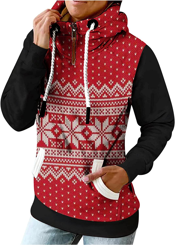 Women Hoodie Sweatshirts Turtleneck Patchwork Vintage Tops 1/4 Zip up Blouse Trendy Jumper Pullover with Pocket