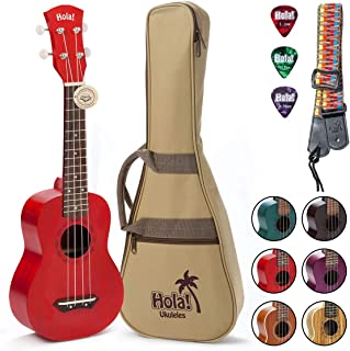 Hola! Music HM-121RD+ Deluxe Mahogany Soprano Ukulele Bundle with Aquila Strings, Padded Gig Bag, Strap and Picks - Red