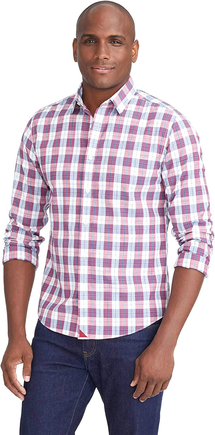 UNTUCKit Denner Wrinkle Free - Untucked Shirt for Men, Long Sleeve, Plaid Red