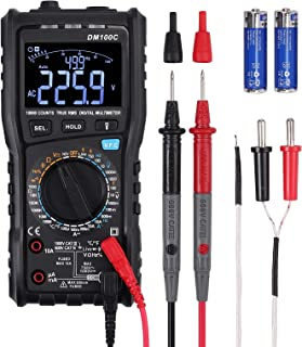 Neoteck TRMS 9999 Counts Digital Multimeter, 3-Line Display with Analog Bargraph NCV DMM VFC AC/DC Amp Volt Ohm Temperature Capacitance Live Wire Tester