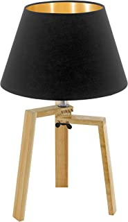 EGLO Chietino - Lámpara de mesa (1 foco, diseño Nature Design, madera, tela y acero, negro, dorado, natural, casquillo: E27, incluye interruptor)