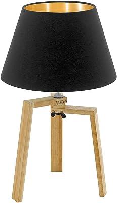 Eglo 97515 Lampe de Table, Bois, 60 W, Natur, Schwarz
