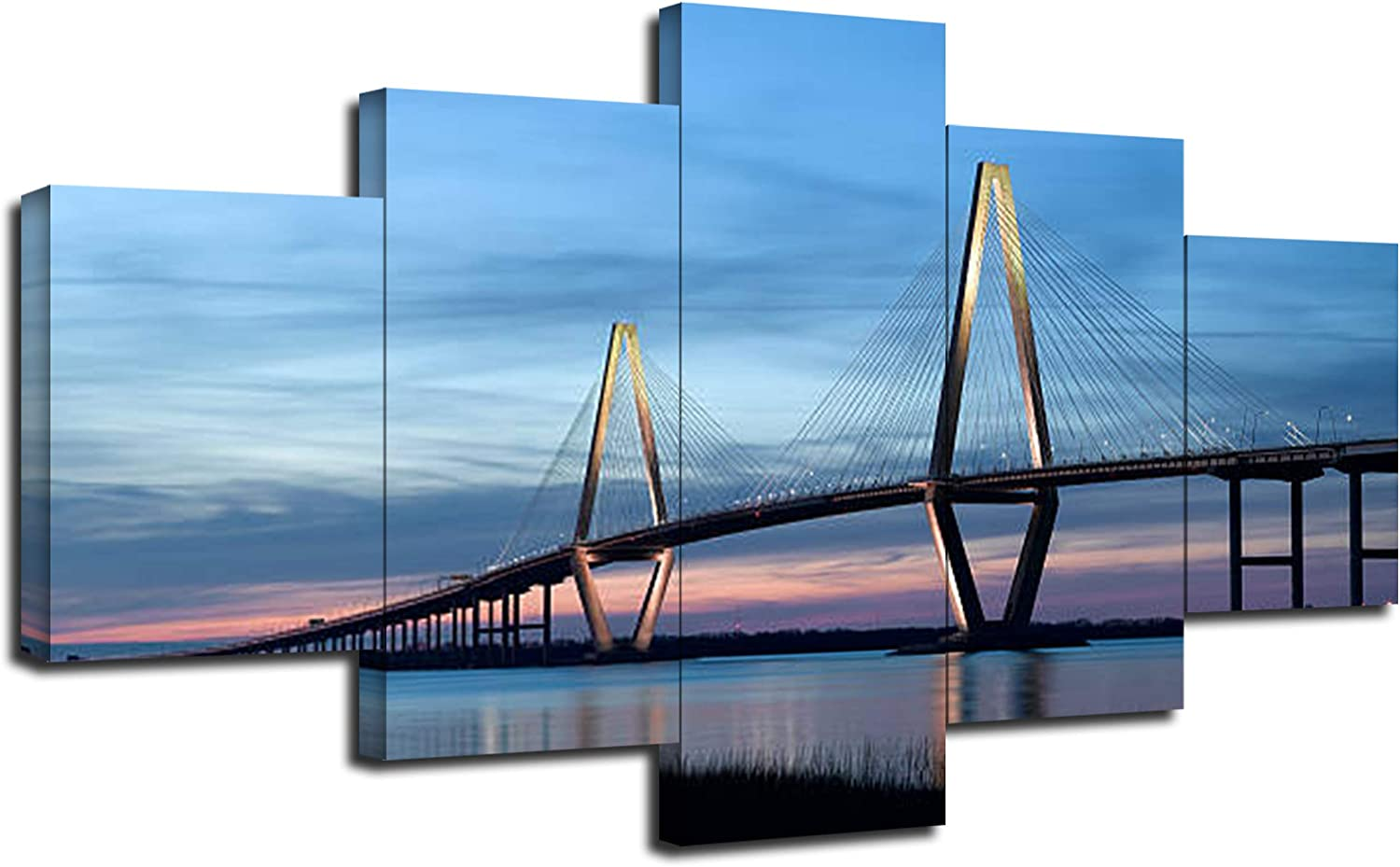 Ravenel Bridge Wall Art Canvas Prints Cooper River Bridge in Charleston SC Wall Decor Pictures 5 Piece Posters American Landmarks Paintings Framed Ready to Hang(60''Wx32''H)