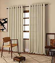 Curtain Label Set of 2- Curtain Label Linen Natural Solid Eyelet Curtain (Cream, 3.5 feet X 9 feet (W X H))