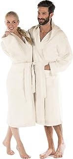 CelinaTex Montana Bathrobe, Hooded, Plain, Long, Patched Pockets, Stitching, Women, Men, Unisex, 100% Cotton, Natur, XXXL