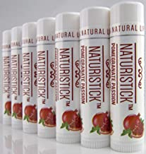 Pomegranate Lip Balm Gift Set 7 Pack by Naturistick. Best All-Natural Beeswax Chapstick for Healing Dry, Chapped Lips. Made with Aloe Vera, Vitamin E, Coconut Oil for Men, Women and Kids. Made in USA
