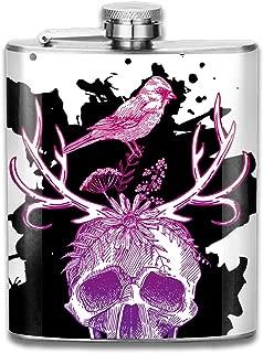 Pocket Hip Flask for Men And Women Liquor set Stainless Steel Alcohol Whiskey Vodka Bottle Sketch The Skull