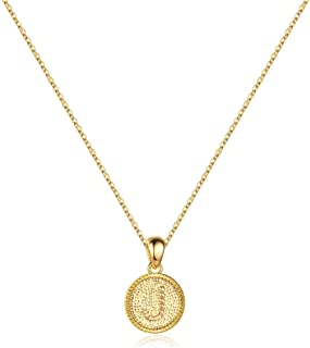 IEFSHINY Heart Initial Necklace for Women - 14K Gold Filled Dainty Heart Pendant Initial Letter Necklaces, Handmade Engrav...