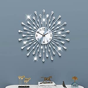 FLEBLE Large Wall Clocks for Living Room Decor Modern Silent Wall Clock Battery Operated Non-Ticking for Bedroom Kitchen Office Home Decoration 20 Inch Silver Drop Crystal Wall Watch Clocks for Indoor