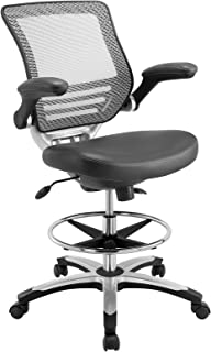 Modway Edge Gray Vinyl-Reception Tall Office Adjustable Standing Desks-Flip-Up Arm Drafting Table Chair