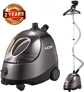 AICOK Steamer for Clothes, Large Transparent Water Tank, Anti-Corrosion Design Standing Steamer, Professional Full Size Heavy Duty Garment Steamer, with Fabric Brush/Garment Hanger/Anti-Scalding