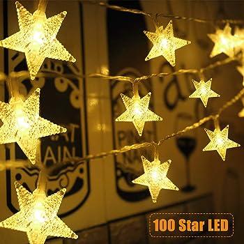 Star String Lights 100 LED 33 FT Plug in Fairy Bedroom Twinkle Lights Waterproof Extendable for Indoor Outdoor Weddin...