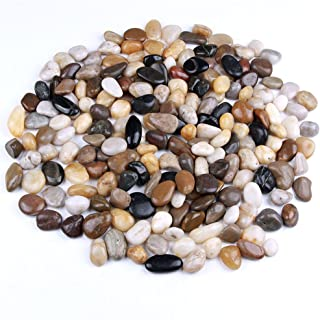 skullis 5 Pounds River Rocks, Pebbles, Garden Outdoor Decorative Stones, Natural Polished Mixed Color Stones