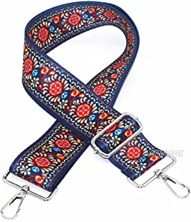 """SWTOOL 2"""" Wide 28""""-50"""" Adjustable Length Handbag Purse Strap Guitar Style Multicolor Canvas Replacement Strap Crossbody Strap, with 2Pcs Silver Metal Buckles (Style9)"""