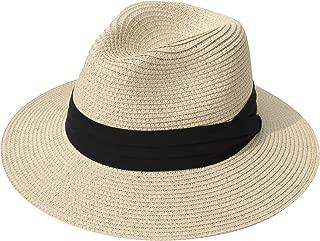 DRESHOW Women Straw Panama Hat Fedora Beach Sun Hat Wide Brim Straw Roll up Hat UPF 30+