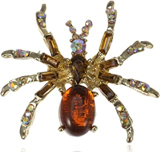 Alilang Warm Amber Golden Crystal Rhinestone Spider Fashion Jewelry Pin Brooch