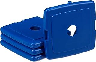 Relaxdays Acumulador de frío, Enfriador de Comida, Bandeja de Gel, PVC, Mini, 13x13x1,5 cm, 4 Uds, Azul, 1 Ud
