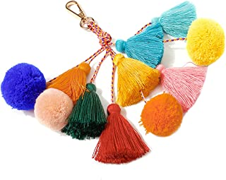 Colorful Bohemian Keychain Tassels Pom Pom Key Chain Charm Key Ring Handbag Bag Purse Pendant